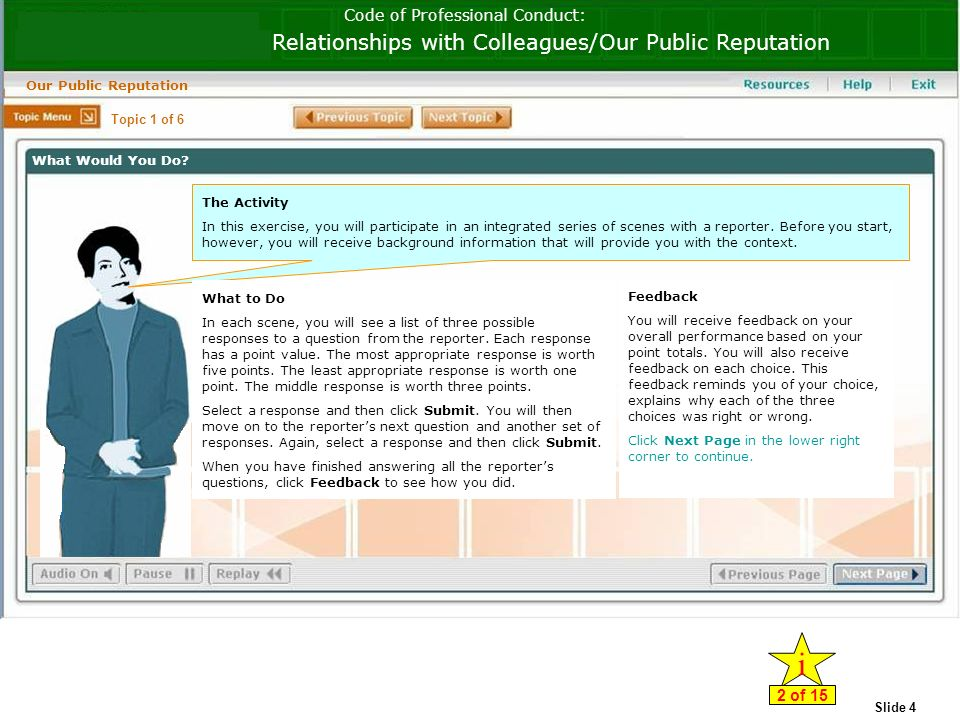 Slide 4 Code of Professional Conduct: Relationships with Colleagues/Our Public Reputation Our Public Reputation The Activity In this exercise, you will participate in an integrated series of scenes with a reporter.