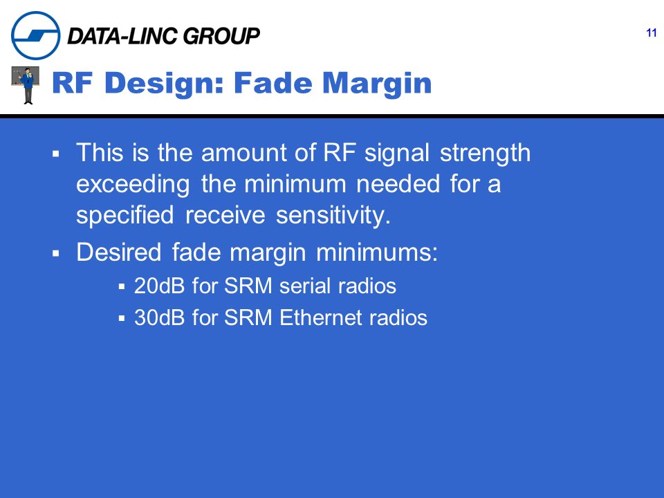 11 RF Design: Fade Margin This is the amount of RF signal strength exceeding the minimum needed for a specified receive sensitivity.