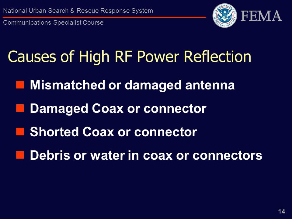 14 National Urban Search & Rescue Response System Communications Specialist Course Causes of High RF Power Reflection Mismatched or damaged antenna Damaged Coax or connector Shorted Coax or connector Debris or water in coax or connectors