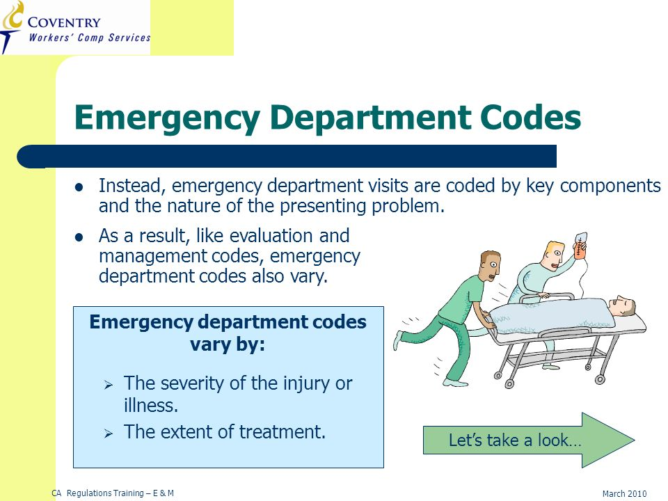 CA Regulations Training – E & M March 2010 Emergency Department Codes Instead, emergency department visits are coded by key components and the nature of the presenting problem.