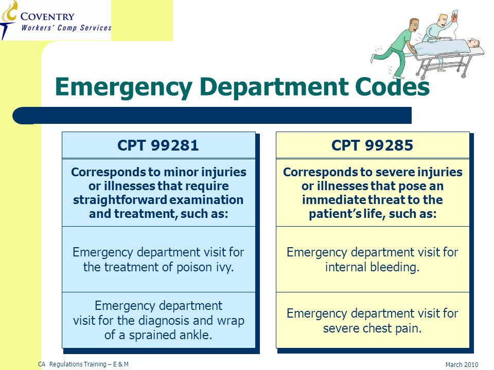 CA Regulations Training – E & M March 2010 Example 2Example 1 CPT CPT Emergency Department Codes Corresponds to minor injuries or illnesses that require straightforward examination and treatment, such as: Emergency department visit for the treatment of poison ivy.