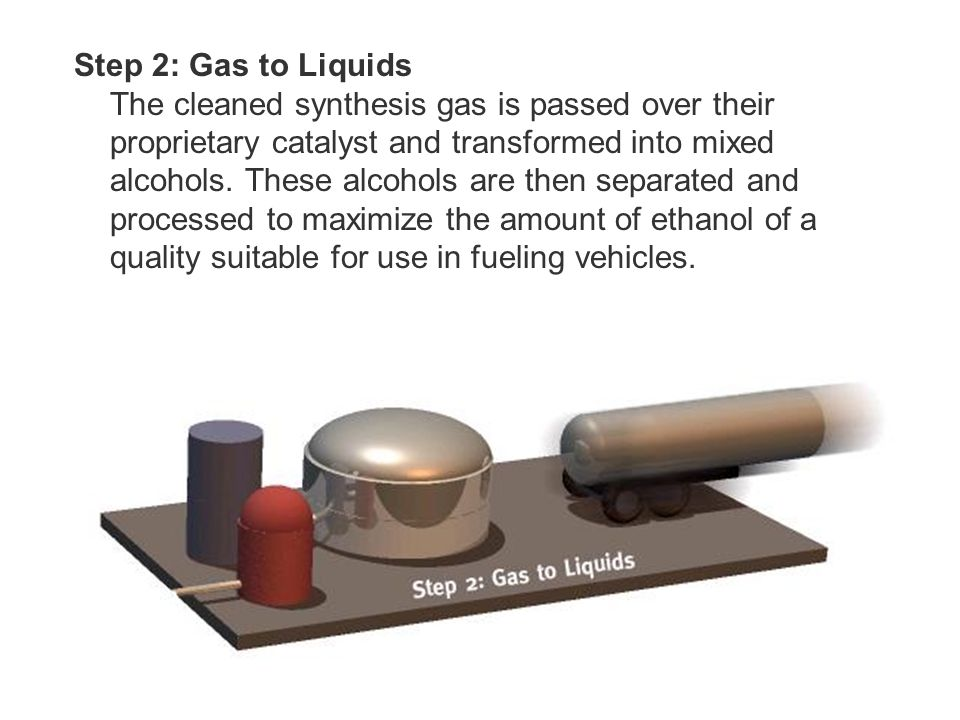 Step 2: Gas to Liquids The cleaned synthesis gas is passed over their proprietary catalyst and transformed into mixed alcohols.