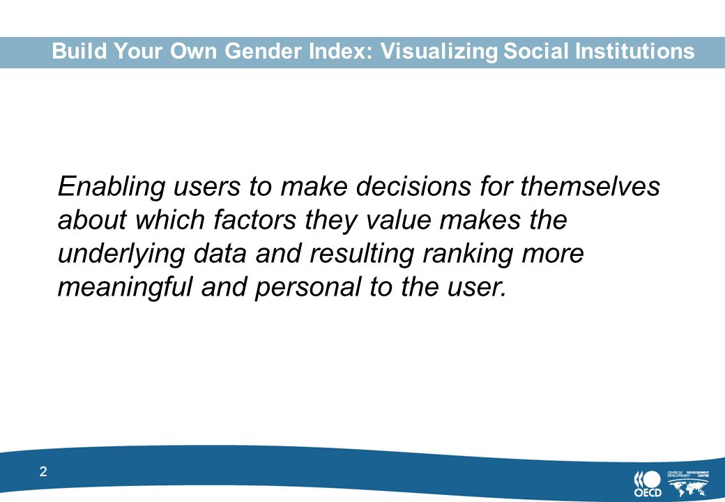 2 Build Your Own Gender Index: Visualizing Social Institutions Enabling users to make decisions for themselves about which factors they value makes the underlying data and resulting ranking more meaningful and personal to the user.