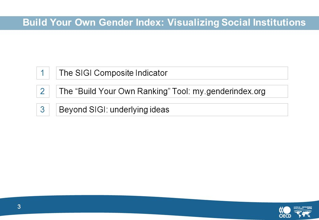 3 Build Your Own Gender Index: Visualizing Social Institutions 1The SIGI Composite Indicator 2The Build Your Own Ranking Tool: my.genderindex.org 3Beyond SIGI: underlying ideas