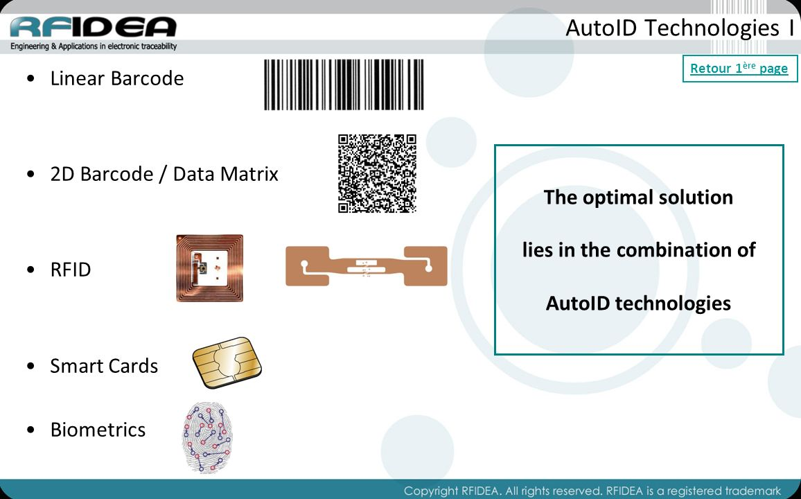 AutoID Technologies I Linear Barcode 2D Barcode / Data Matrix RFID Smart Cards Biometrics The optimal solution lies in the combination of AutoID technologies Retour 1 ère page