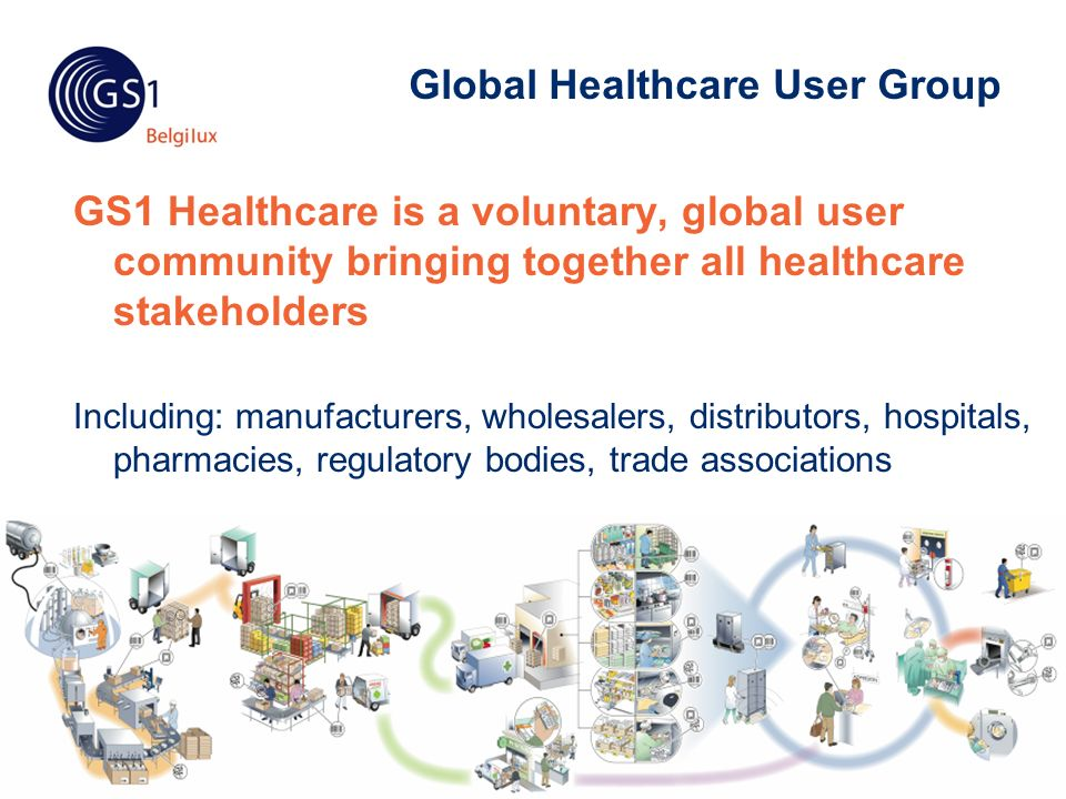© 2010 GS1 Global Healthcare User Group GS1 Healthcare is a voluntary, global user community bringing together all healthcare stakeholders Including: manufacturers, wholesalers, distributors, hospitals, pharmacies, regulatory bodies, trade associations