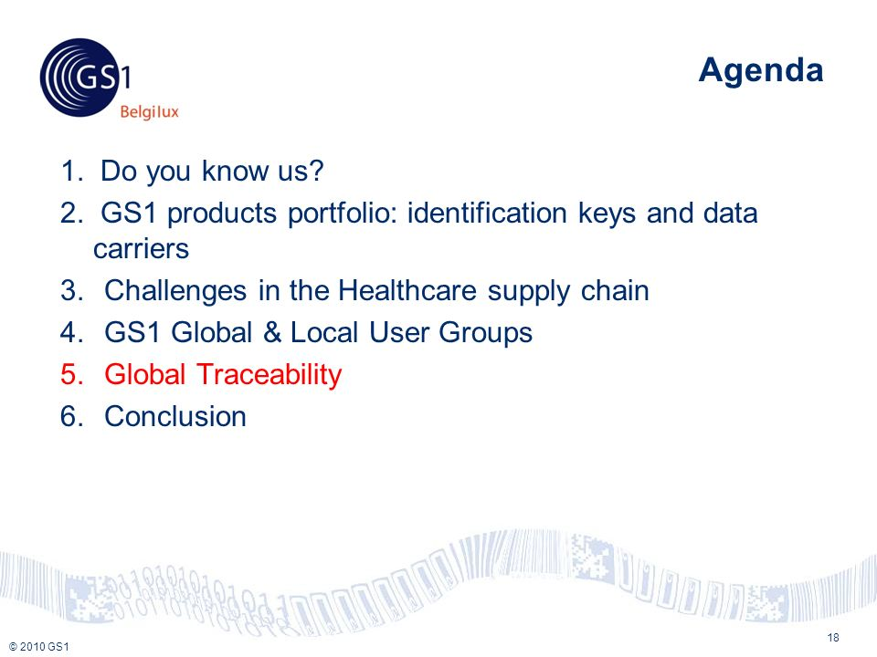© 2010 GS1 Agenda 1. Do you know us. 2.