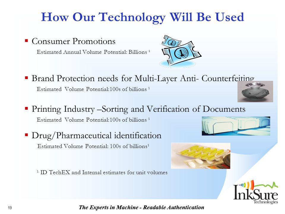 The Experts in Machine - Readable Authentication 19 How Our Technology Will Be Used Consumer Promotions Estimated Annual Volume Potential: Billions ¹ Brand Protection needs for Multi-Layer Anti- Counterfeiting Estimated Volume Potential:100s of billions ¹ Printing Industry –Sorting and Verification of Documents Estimated Volume Potential:100s of billions ¹ Drug/Pharmaceutical identification Estimated Volume Potential: 100s of billions¹ ¹ ID TechEX and Internal estimates for unit volumes