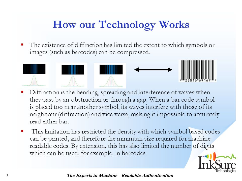 The Experts in Machine - Readable Authentication 8 How our Technology Works The existence of diffraction has limited the extent to which symbols or images (such as barcodes) can be compressed.