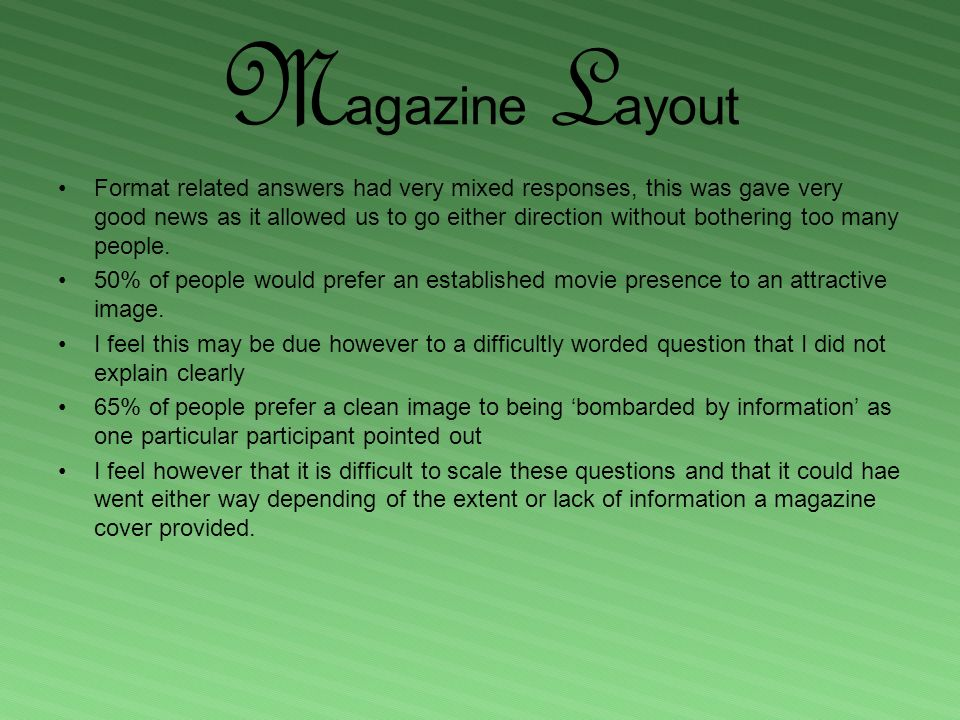 M agazine L ayout Format related answers had very mixed responses, this was gave very good news as it allowed us to go either direction without bothering too many people.