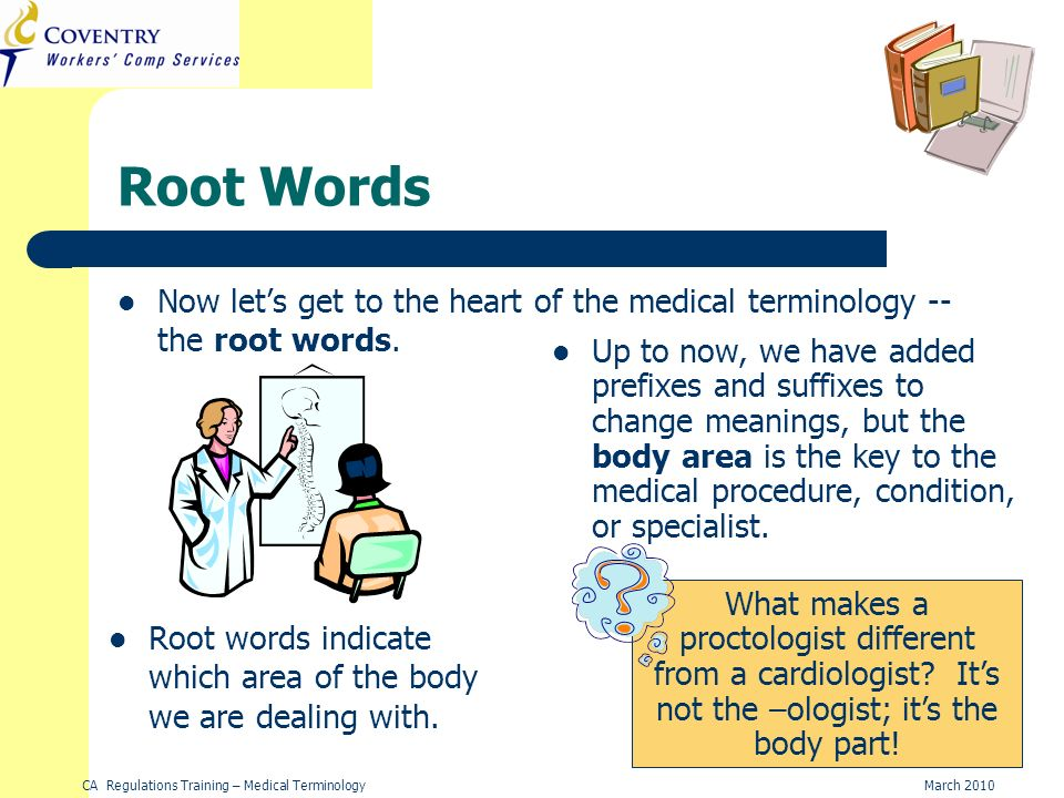 CA Regulations Training – Medical TerminologyMarch 2010 Root Words Now lets get to the heart of the medical terminology -- the root words.