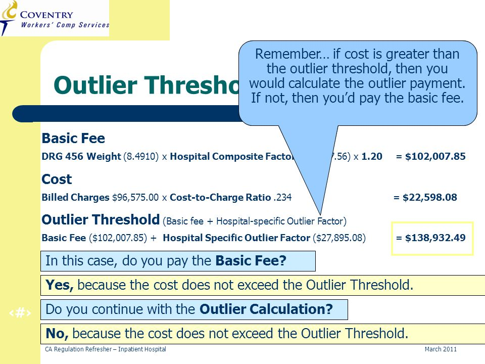 21 CA Regulation Refresher – Inpatient Hospital March 2011 Outlier Threshold (Basic fee + Hospital-specific Outlier Factor) Basic Fee ($102,007.85) + Hospital Specific Outlier Factor ($27,895.08) = $138,932.49 Cost Billed Charges $96,575.00 x Cost-to-Charge Ratio.234 = $22,598.08 Basic Fee DRG 456 Weight (8.4910) x Hospital Composite Factor ($10,897.56) x 1.20 = $102,007.85 Outlier Threshold Calculation This calculation will help you determine whether to pay the basic fee or the outlier payment.