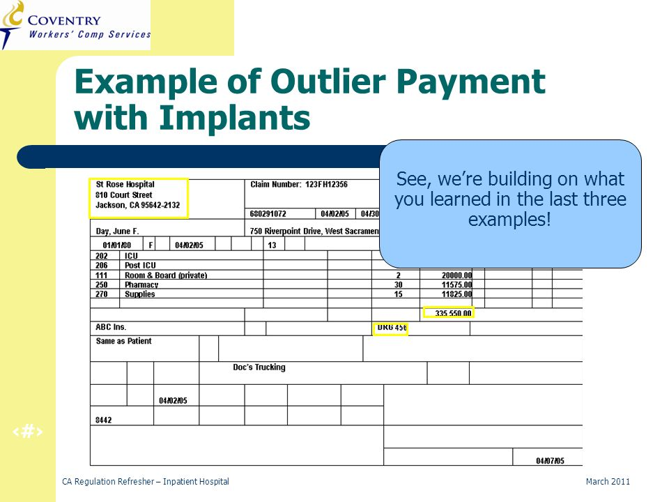 26 CA Regulation Refresher – Inpatient Hospital March 2011 Example of Outlier Payment with Implants See, were building on what you learned in the last three examples!