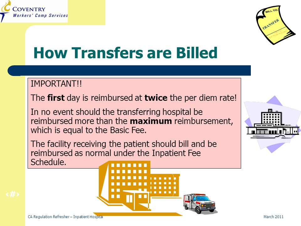 32 CA Regulation Refresher – Inpatient Hospital March 2011 How Transfers are Billed TRANSFER IMPORTANT!.