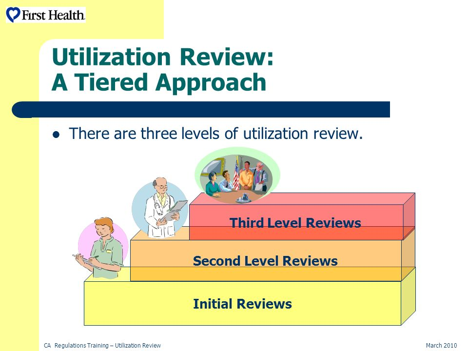 CA Regulations Training – Utilization ReviewMarch 2010 Utilization Review: A Tiered Approach There are three levels of utilization review.