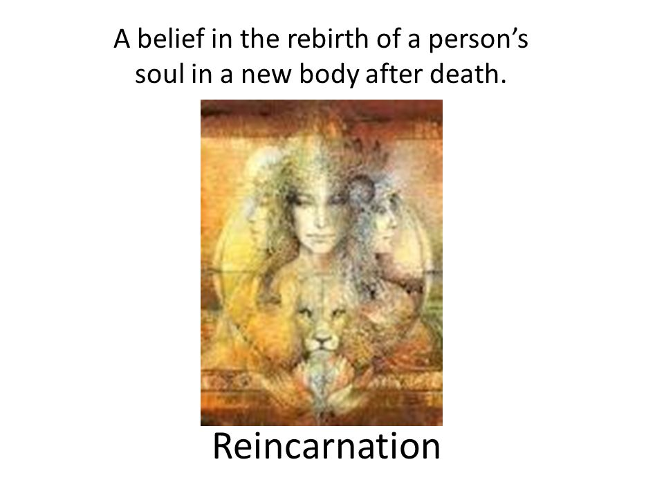 Reincarnation A belief in the rebirth of a persons soul in a new body after death.