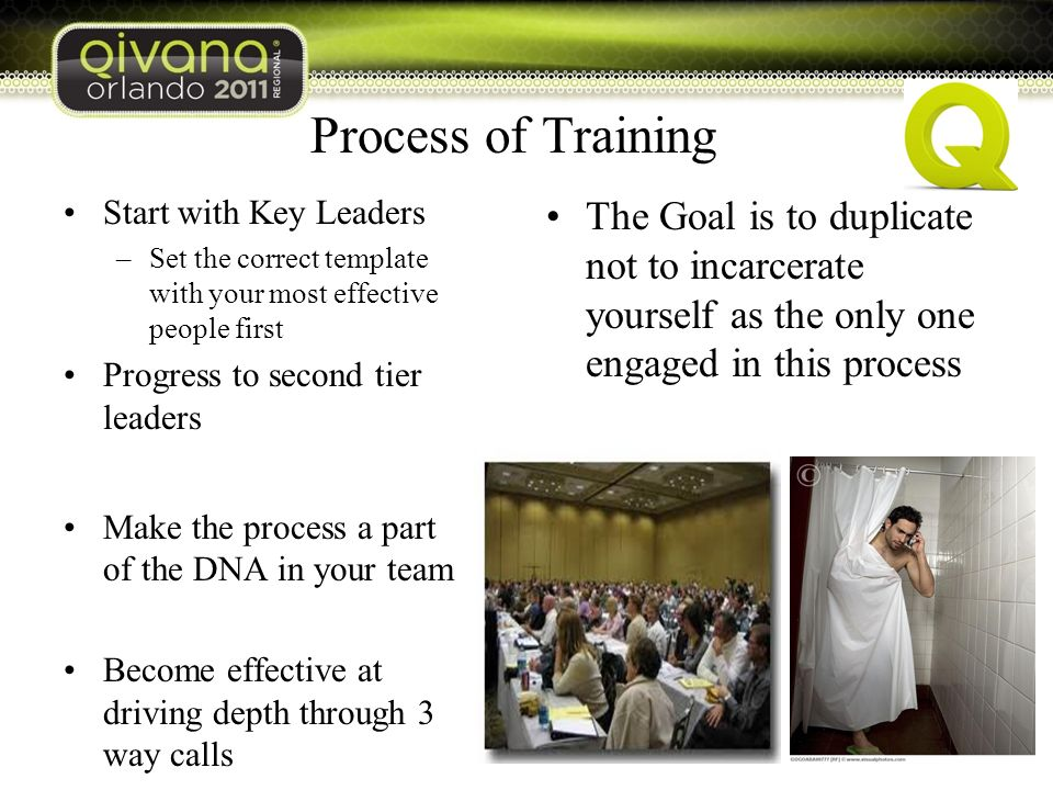 Process of Training Start with Key Leaders –Set the correct template with your most effective people first Progress to second tier leaders Make the process a part of the DNA in your team Become effective at driving depth through 3 way calls The Goal is to duplicate not to incarcerate yourself as the only one engaged in this process