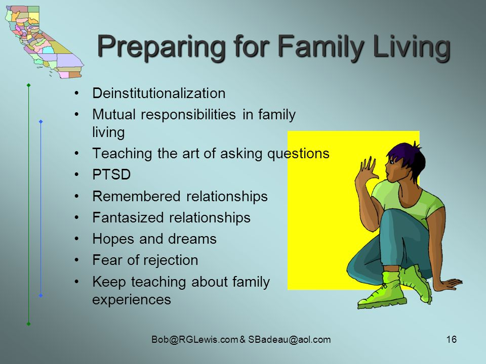 & Preparing for Family Living Deinstitutionalization Mutual responsibilities in family living Teaching the art of asking questions PTSD Remembered relationships Fantasized relationships Hopes and dreams Fear of rejection Keep teaching about family experiences