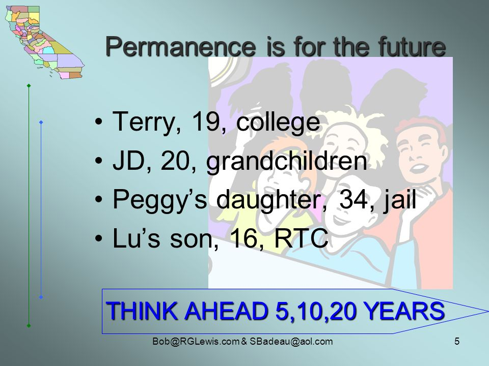 & Permanence is for the future Terry, 19, college JD, 20, grandchildren Peggys daughter, 34, jail Lus son, 16, RTC THINK AHEAD 5,10,20 YEARS