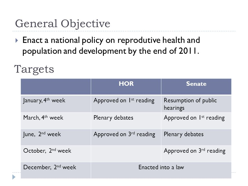 General Objective Enact a national policy on reprodutive health and population and development by the end of 2011.