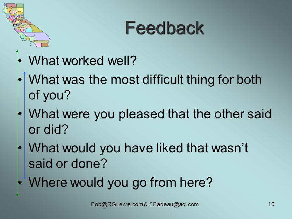 & Feedback What worked well.