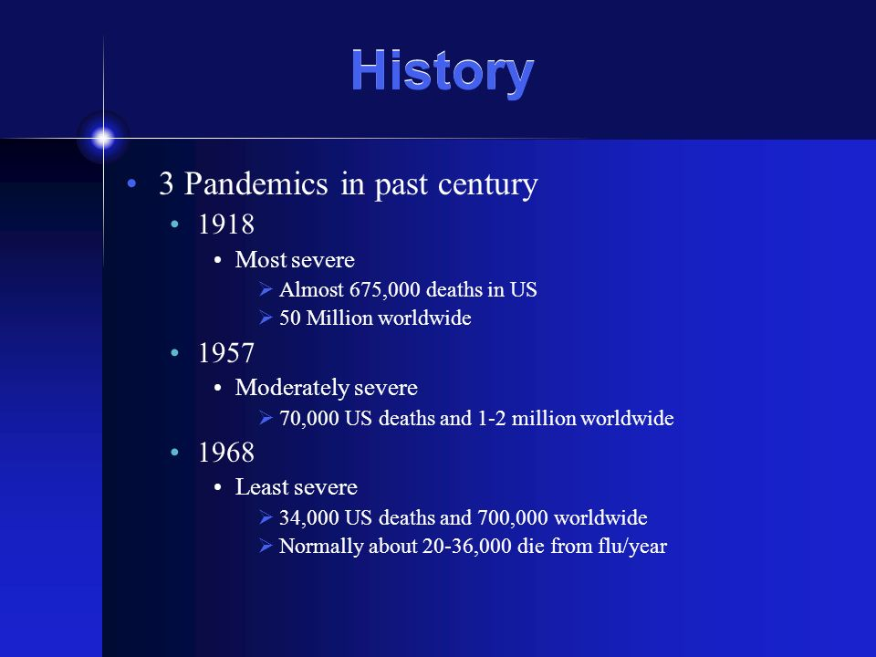 History 3 Pandemics in past century 1918 Most severe Almost 675,000 deaths in US 50 Million worldwide 1957 Moderately severe 70,000 US deaths and 1-2 million worldwide 1968 Least severe 34,000 US deaths and 700,000 worldwide Normally about 20-36,000 die from flu/year
