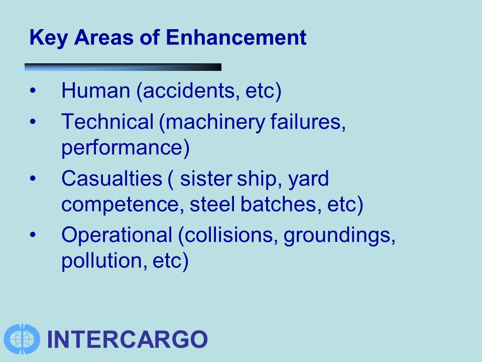 INTERCARGO Key Areas of Enhancement Human (accidents, etc) Technical (machinery failures, performance) Casualties ( sister ship, yard competence, steel batches, etc) Operational (collisions, groundings, pollution, etc)