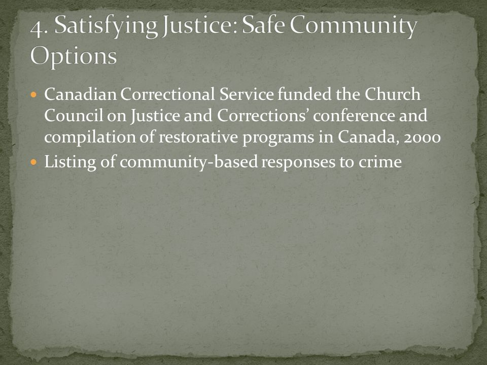 Canadian Correctional Service funded the Church Council on Justice and Corrections conference and compilation of restorative programs in Canada, 2000 Listing of community-based responses to crime