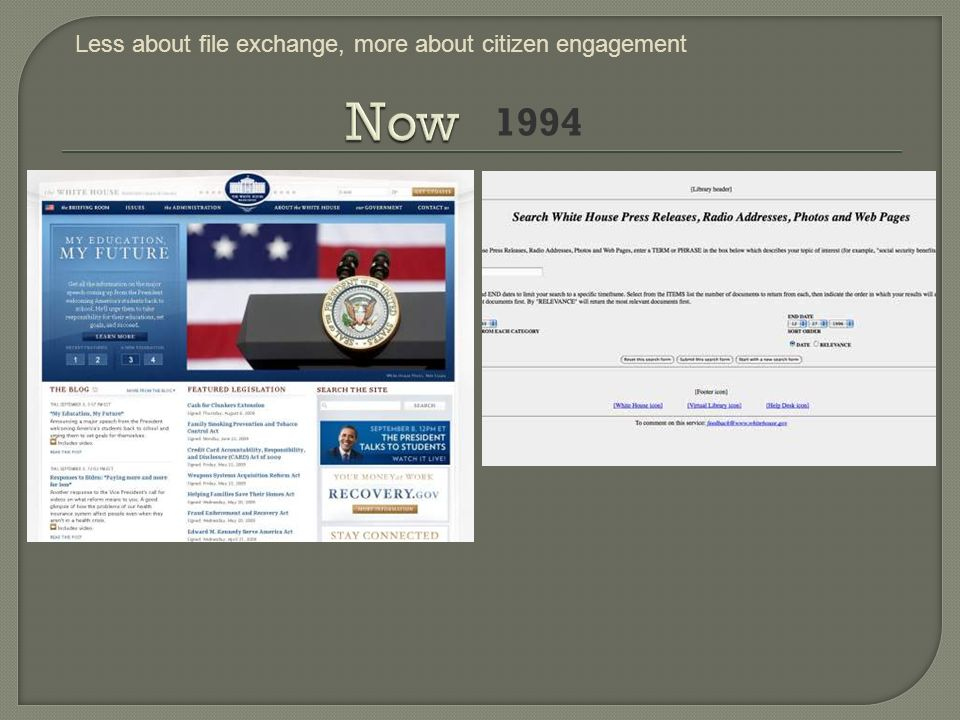 1994 Less about file exchange, more about citizen engagement
