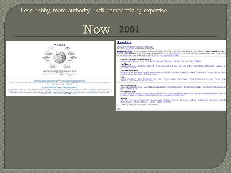 2001 Less hobby, more authority – still democratizing expertise