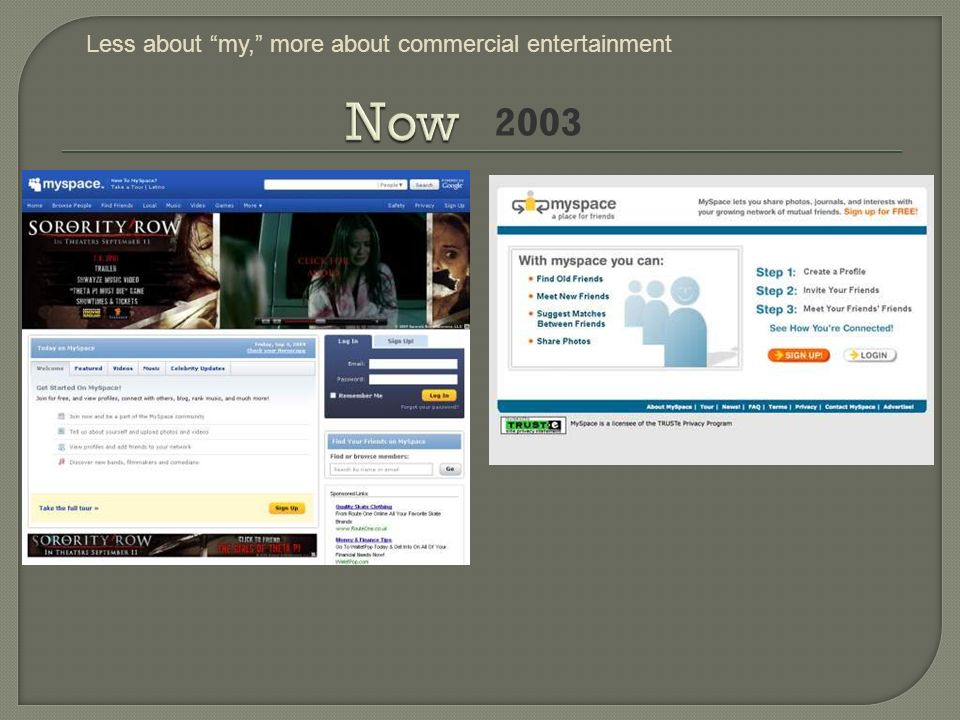 2003 Less about my, more about commercial entertainment
