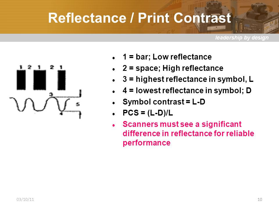 Reflectance / Print Contrast 1 = bar; Low reflectance 2 = space; High reflectance 3 = highest reflectance in symbol, L 4 = lowest reflectance in symbol; D Symbol contrast = L-D PCS = (L-D)/L Scanners must see a significant difference in reflectance for reliable performance 03/10/1110