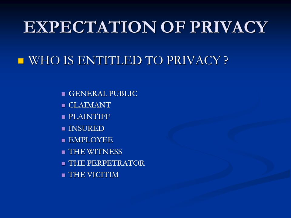 EXPECTATION OF PRIVACY WHO IS ENTITLED TO PRIVACY .