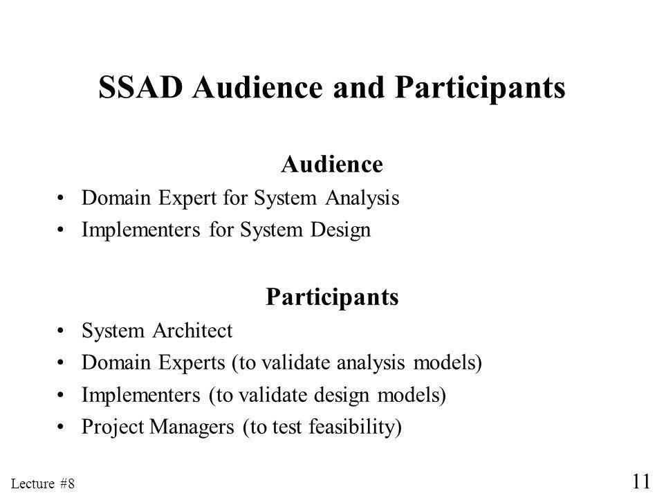 11 Lecture #8 SSAD Audience and Participants Audience Domain Expert for System Analysis Implementers for System Design Participants System Architect Domain Experts (to validate analysis models) Implementers (to validate design models) Project Managers (to test feasibility)