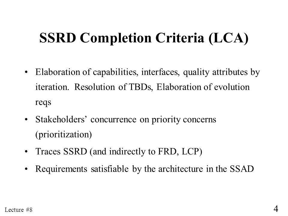 4 Lecture #8 SSRD Completion Criteria (LCA) Elaboration of capabilities, interfaces, quality attributes by iteration.