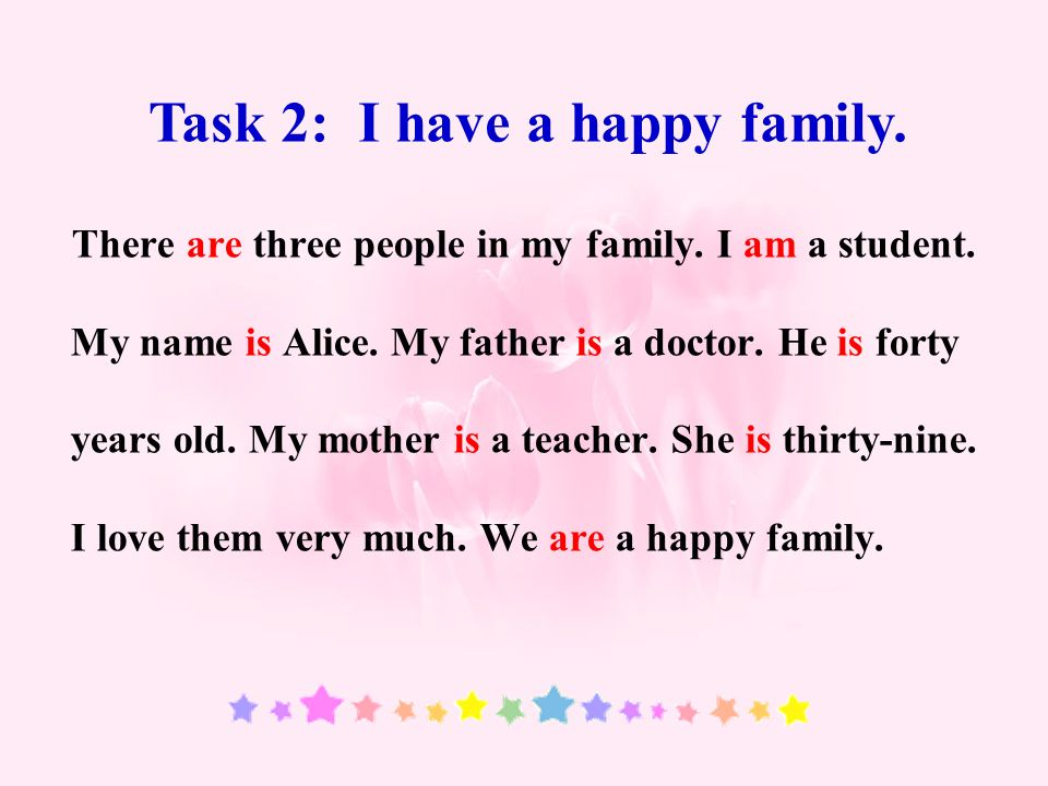 There are three people in my family. I am a student.