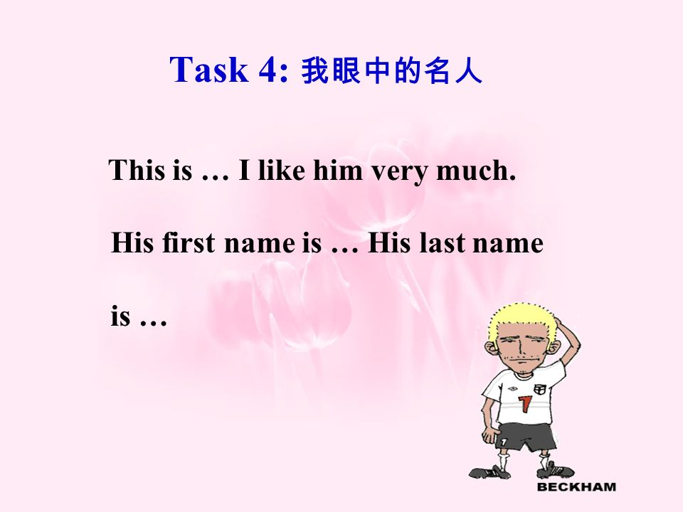 Task 4: This is … I like him very much. His first name is … His last name is …