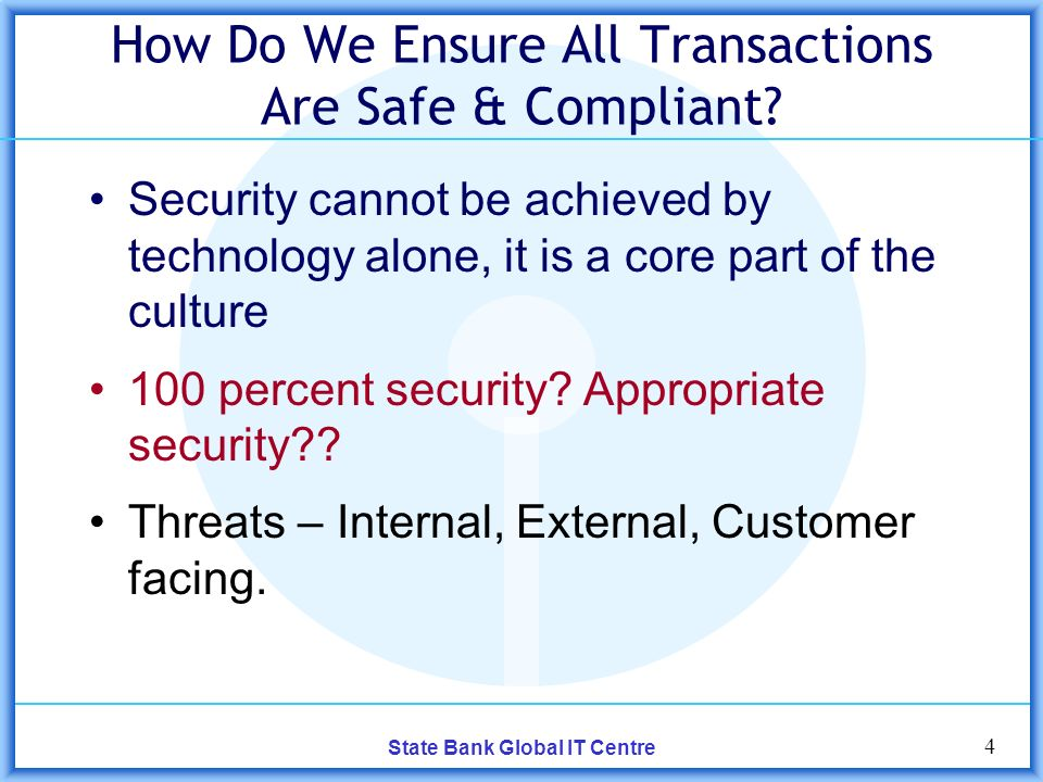 4 State Bank Global IT Centre How Do We Ensure All Transactions Are Safe & Compliant.