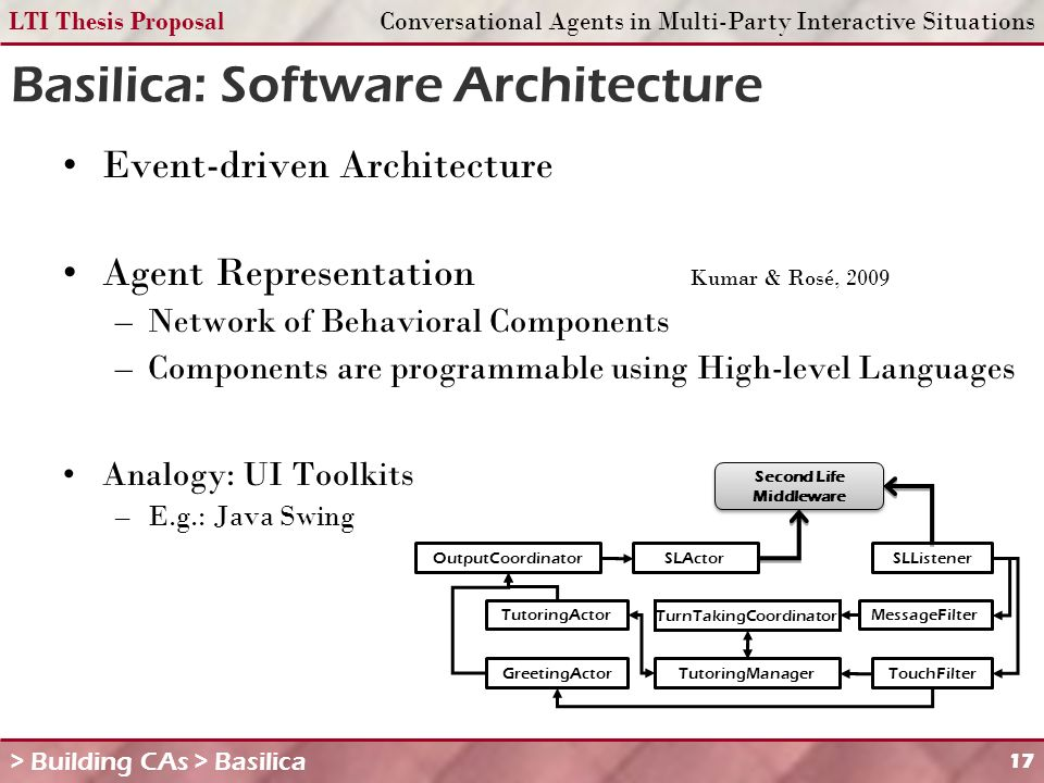 LTI Thesis ProposalConversational Agents in Multi-Party Interactive Situations 17 Basilica: Software Architecture Event-driven Architecture Agent Representation Kumar & Rosé, 2009 –Network of Behavioral Components –Components are programmable using High-level Languages Analogy: UI Toolkits –E.g.: Java Swing > Building CAs > Basilica MessageFilter TouchFilter TurnTakingCoordinator TutoringManager OutputCoordinatorSLActorSLListener Second Life Middleware Second Life Middleware TutoringActor GreetingActor