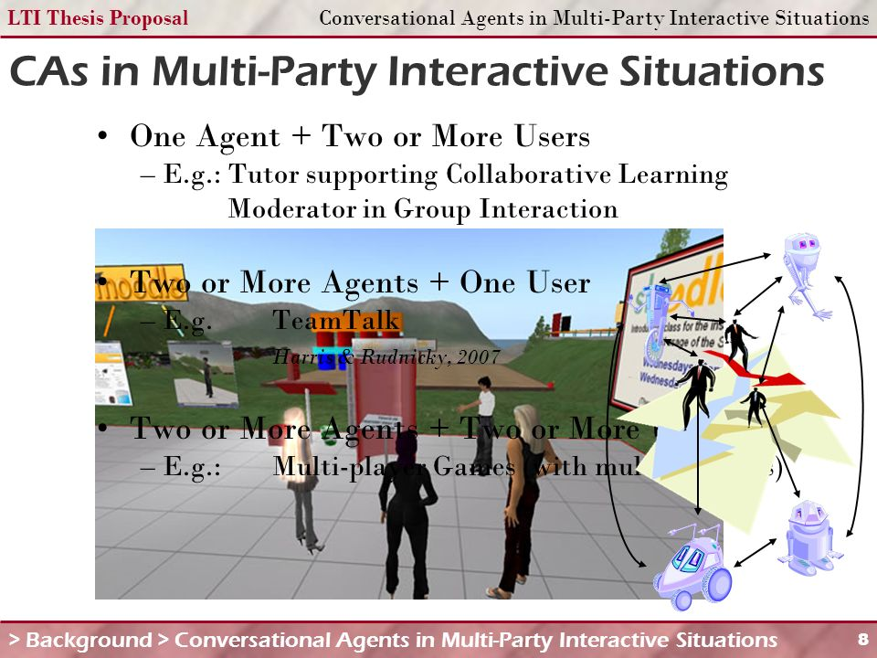 LTI Thesis ProposalConversational Agents in Multi-Party Interactive Situations 8 CAs in Multi-Party Interactive Situations > Background > Conversational Agents in Multi-Party Interactive Situations One Agent + Two or More Users – E.g.: Tutor supporting Collaborative Learning Moderator in Group Interaction Two or More Agents + One User – E.g.
