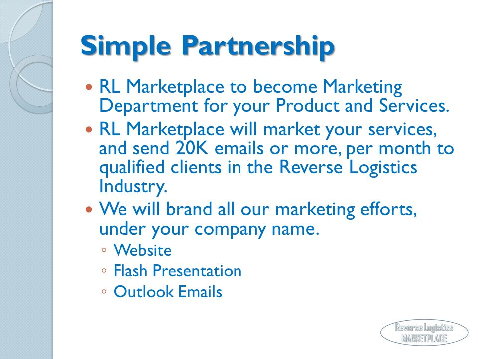 Simple Partnership RL Marketplace to become Marketing Department for your Product and Services.