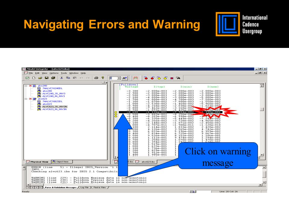Navigating Errors and Warning Click on warning message