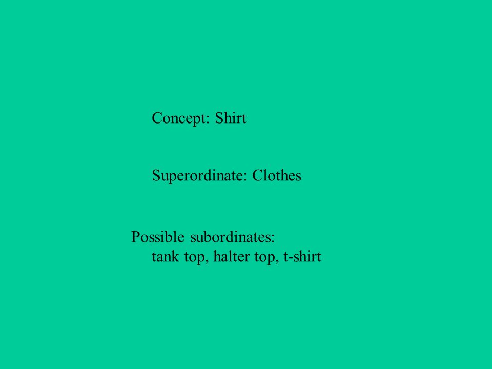 Concept: Shirt Superordinate: Clothes Possible subordinates: tank top, halter top, t-shirt