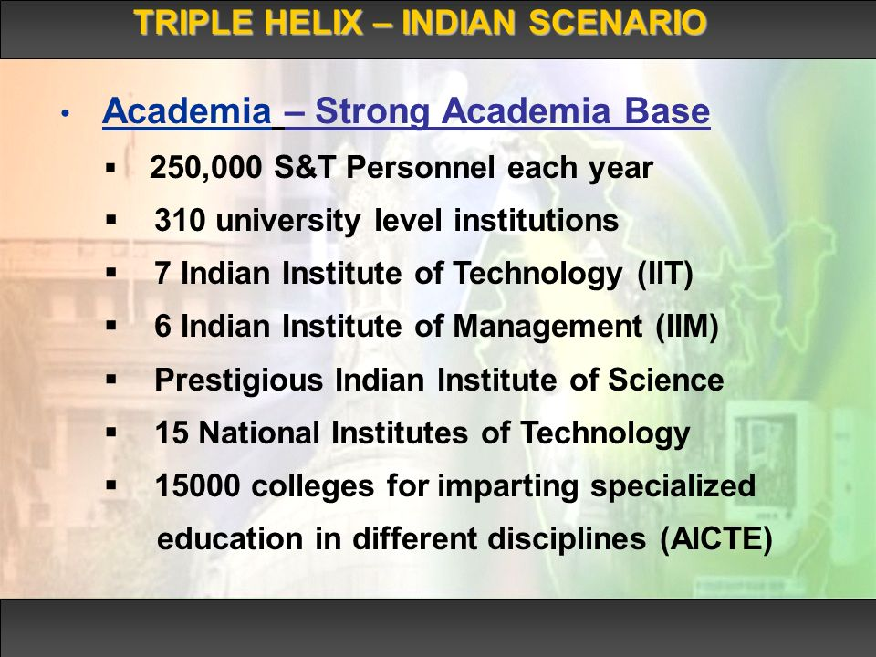 TRIPLE HELIX – INDIAN SCENARIO Academia – Strong Academia Base 250,000 S&T Personnel each year 310 university level institutions 7 Indian Institute of Technology (IIT) 6 Indian Institute of Management (IIM) Prestigious Indian Institute of Science 15 National Institutes of Technology 15000 colleges for imparting specialized education in different disciplines (AICTE)