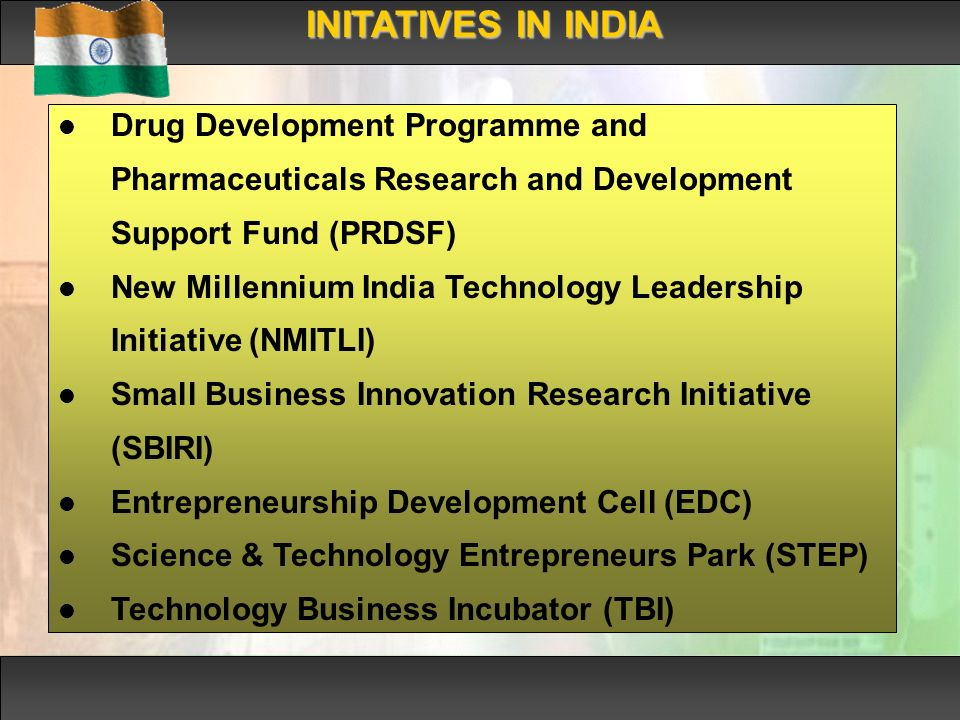 INITATIVES IN INDIA Drug Development Programme and Pharmaceuticals Research and Development Support Fund (PRDSF) New Millennium India Technology Leadership Initiative (NMITLI) Small Business Innovation Research Initiative (SBIRI) Entrepreneurship Development Cell (EDC) Science & Technology Entrepreneurs Park (STEP) Technology Business Incubator (TBI)