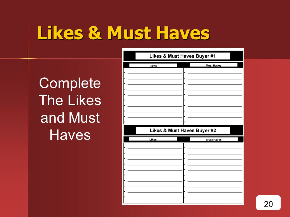 Likes & Must Haves Complete The Likes and Must Haves 20