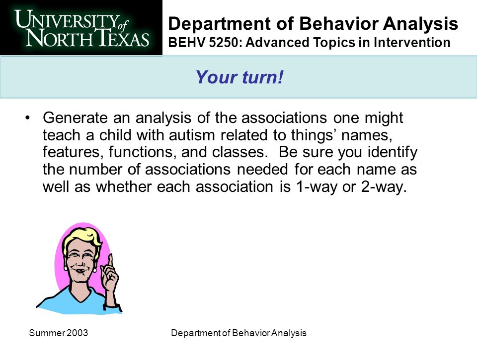 Department of Behavior Analysis BEHV 5250: Advanced Topics in Intervention Summer 2003Department of Behavior Analysis Your turn.