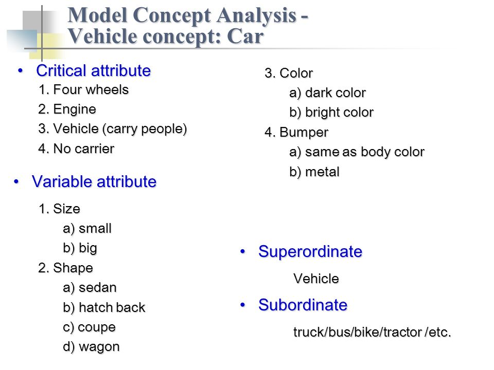 Critical attributeCritical attribute Model Concept Analysis - Vehicle concept: Car 1.