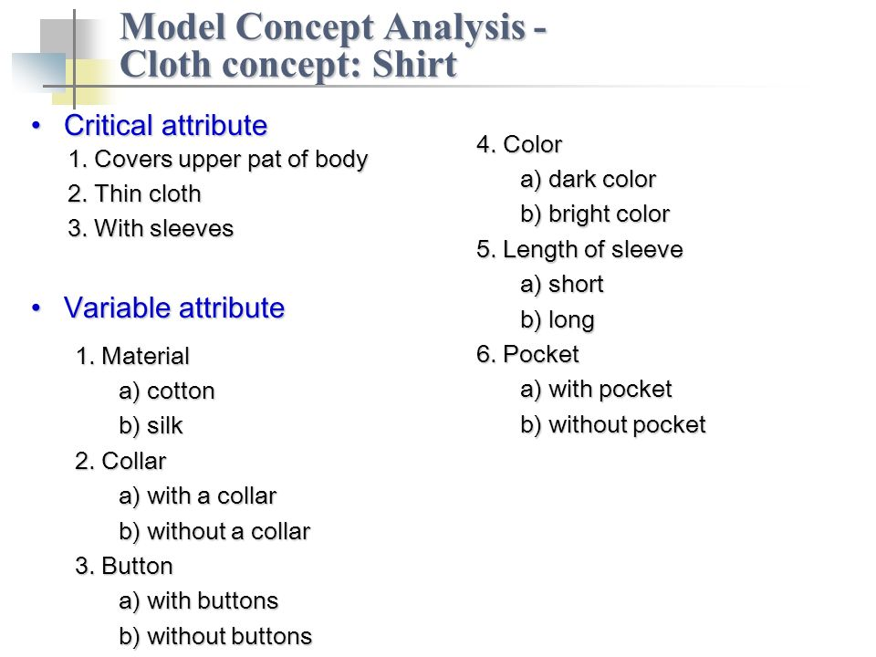 Critical attributeCritical attribute Model Concept Analysis - Cloth concept: Shirt 1.