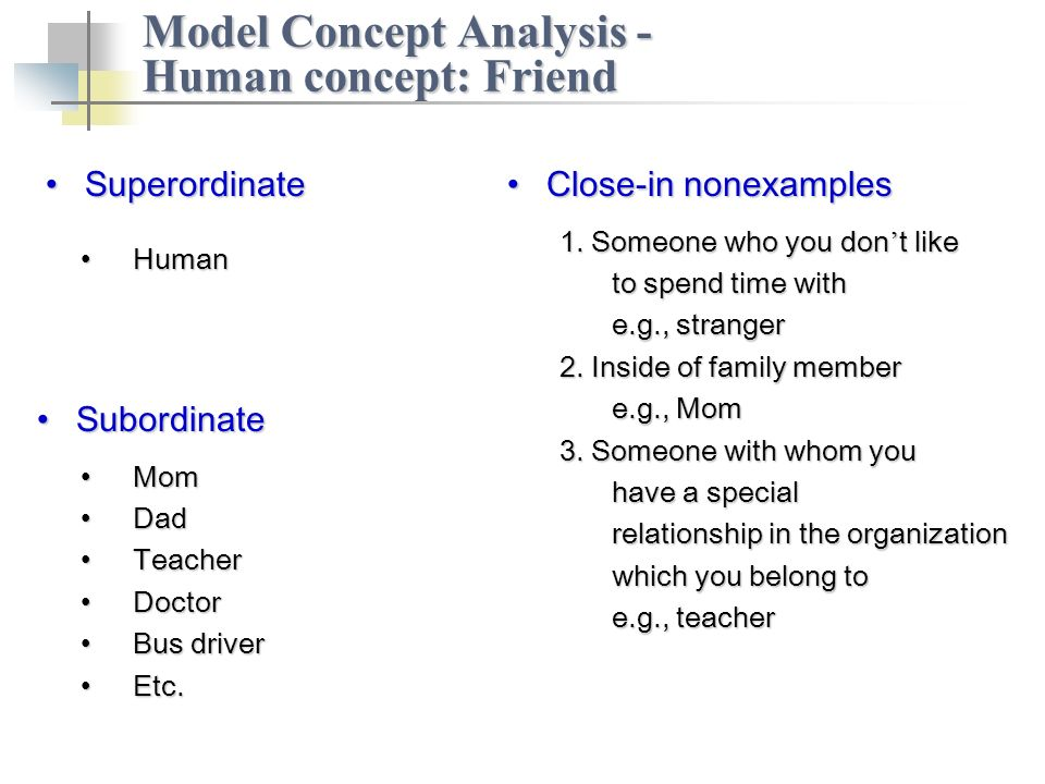 Close-in nonexamplesClose-in nonexamples Model Concept Analysis - Human concept: Friend 1.